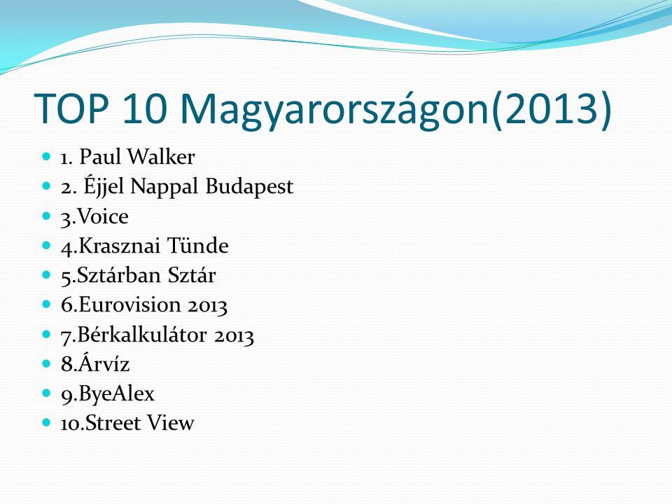 TOP 10 Magyarországon(2013)  1. Paul Walker  2.