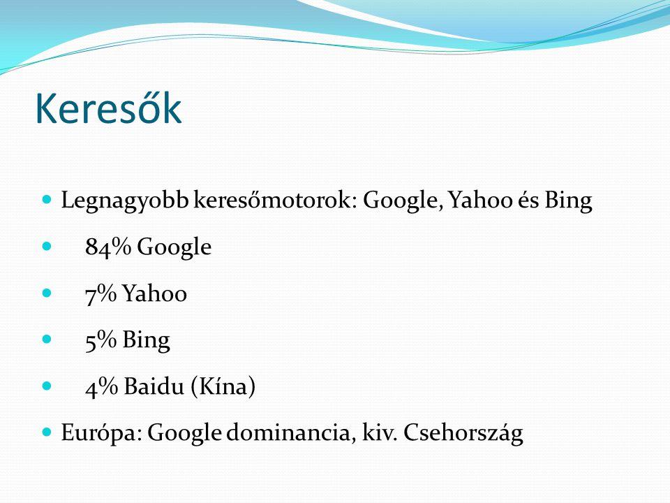 Keresők  Legnagyobb keresőmotorok: Google, Yahoo és Bing  84% Google  7% Yahoo  5% Bing  4% Baidu (Kína)  Európa: Google dominancia, kiv.