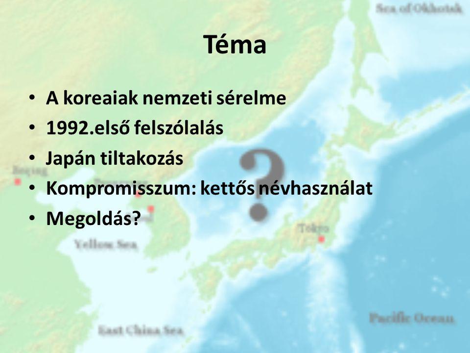 Adatok • Beltenger • Koreai-félsziget, Japán, Oroszország • >1millió km 2 • Mélység: ~4000m • Koreai szigetek: 독도, 울릉도 • Földgáz, halászat • Elnevezések: – Japán-tenger 日本海, Японское море – Keleti-tenger 동해 – Koreai Keleti-tengernek 조선동해