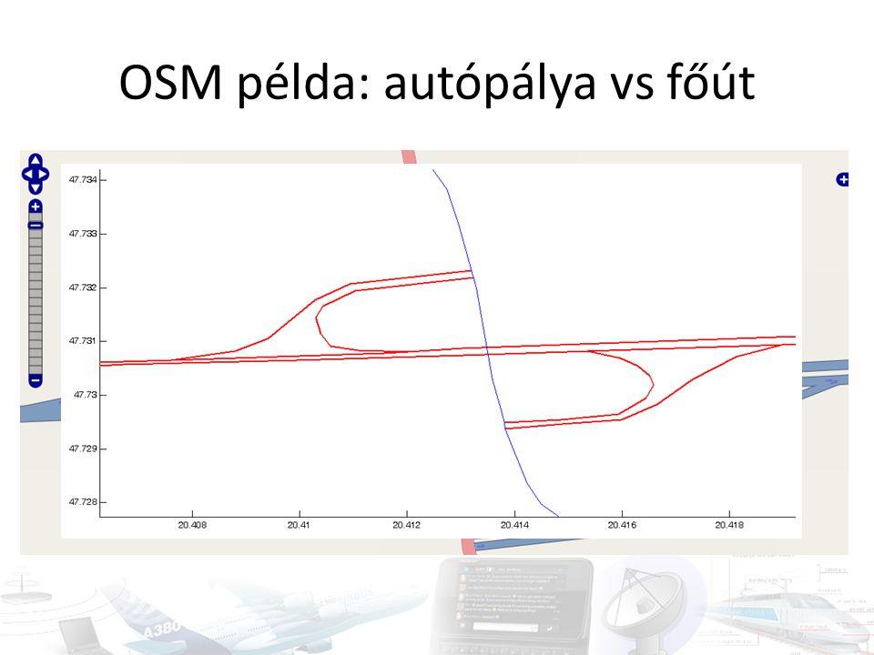OSM példa: autópálya vs főút