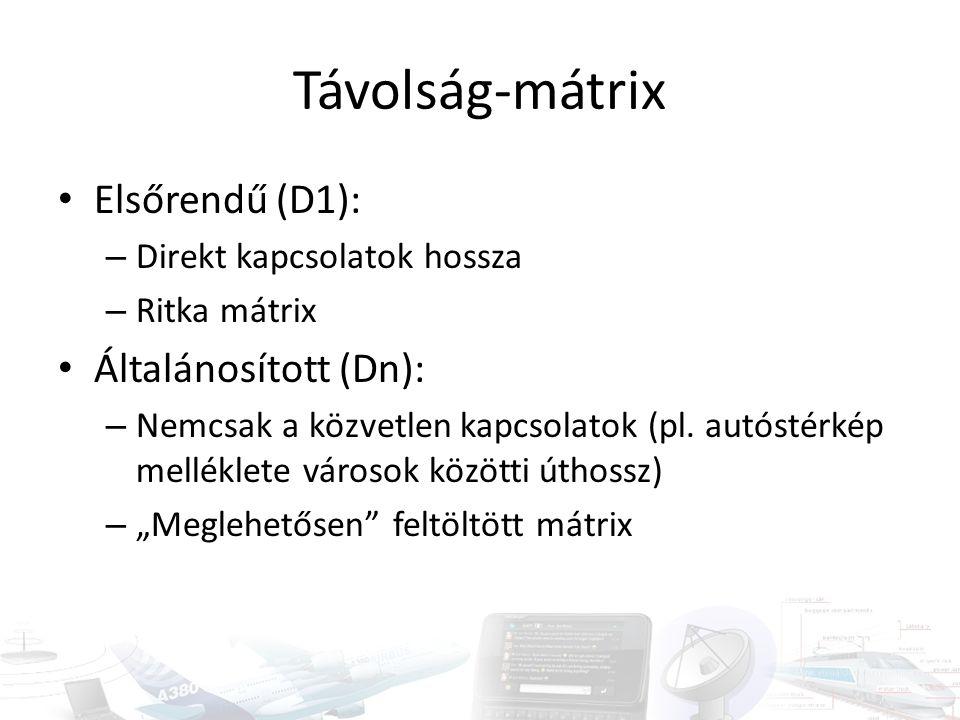 Távolság-mátrix • Elsőrendű (D1): – Direkt kapcsolatok hossza – Ritka mátrix • Általánosított (Dn): – Nemcsak a közvetlen kapcsolatok (pl. autóstérkép