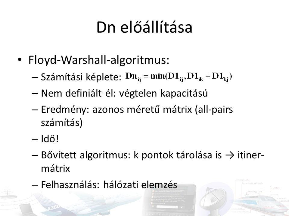 Dn előállítása • Floyd-Warshall-algoritmus: – Számítási képlete: – Nem definiált él: végtelen kapacitású – Eredmény: azonos méretű mátrix (all-pairs s