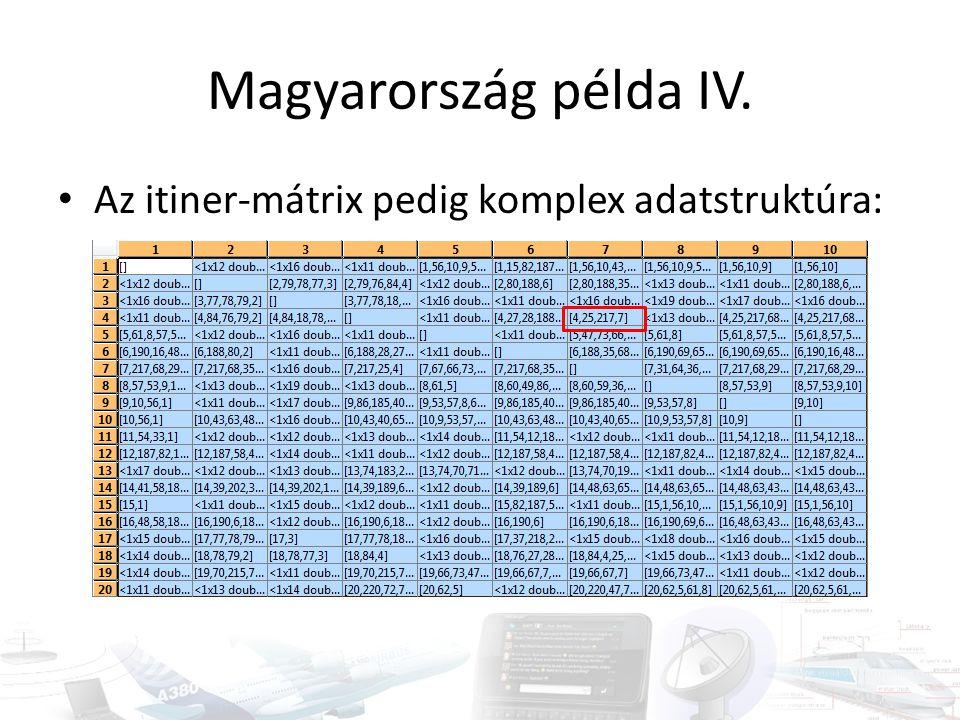 Magyarország példa IV. • Az itiner-mátrix pedig komplex adatstruktúra: