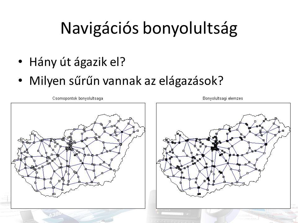 Navigációs bonyolultság • Hány út ágazik el? • Milyen sűrűn vannak az elágazások?