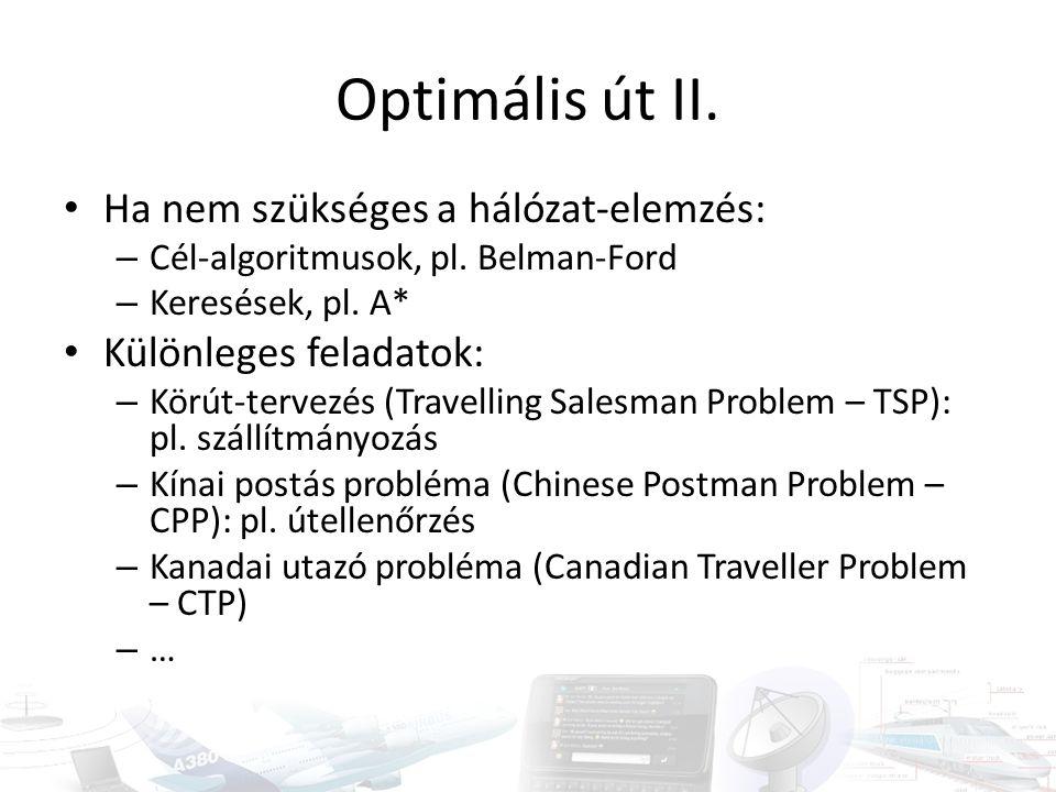 Optimális út II. • Ha nem szükséges a hálózat-elemzés: – Cél-algoritmusok, pl. Belman-Ford – Keresések, pl. A* • Különleges feladatok: – Körút-tervezé