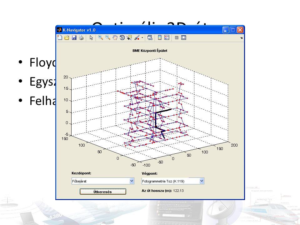 Optimális 3D-út • Floyd-Warshall-algoritmus (azonos!) • Egyszer kiszámított Dn • Felhasználói felület: K-Navigator