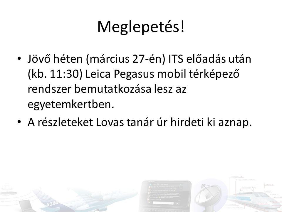 Meglepetés! • Jövő héten (március 27-én) ITS előadás után (kb. 11:30) Leica Pegasus mobil térképező rendszer bemutatkozása lesz az egyetemkertben. • A