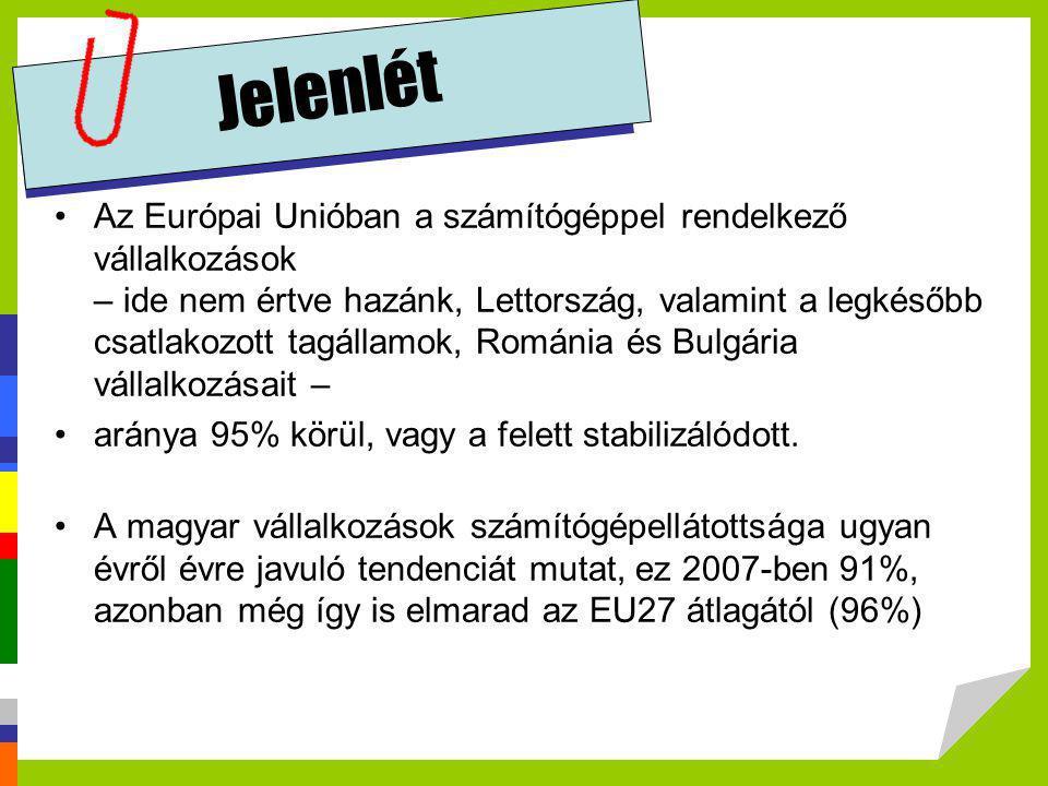 Jelenlét •Az Európai Unióban a számítógéppel rendelkező vállalkozások – ide nem értve hazánk, Lettország, valamint a legkésőbb csatlakozott tagállamok