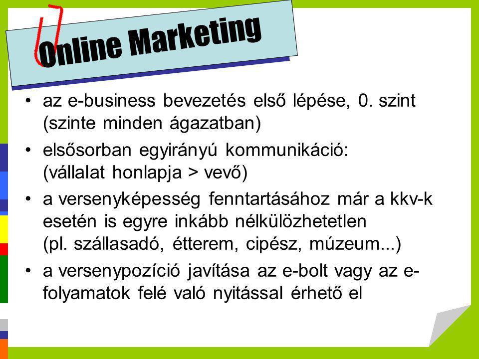 Online Marketing •az e-business bevezetés első lépése, 0. szint (szinte minden ágazatban) •elsősorban egyirányú kommunikáció: (vállalat honlapja > vev