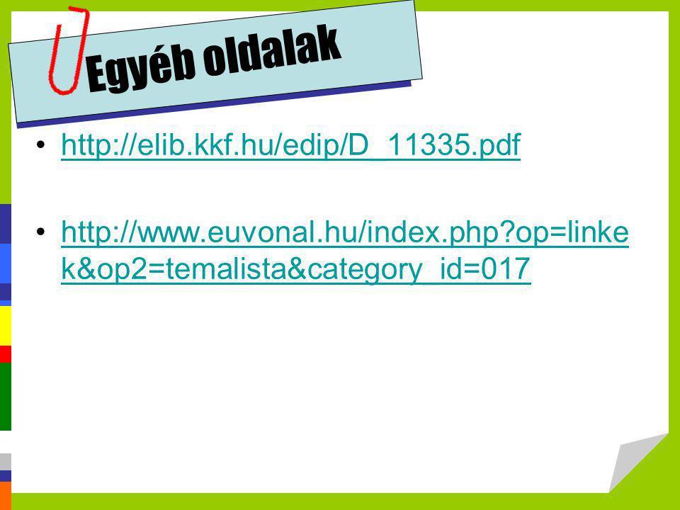 Egyéb oldalak •http://elib.kkf.hu/edip/D_11335.pdfhttp://elib.kkf.hu/edip/D_11335.pdf •http://www.euvonal.hu/index.php?op=linke k&op2=temalista&catego