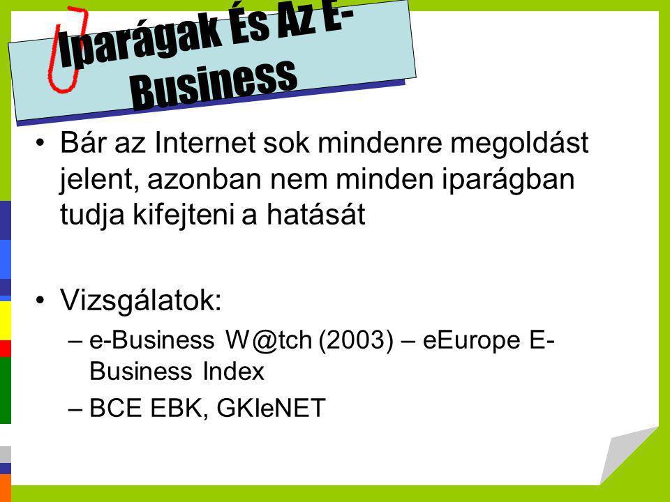 Iparágak És Az E- Business •Bár az Internet sok mindenre megoldást jelent, azonban nem minden iparágban tudja kifejteni a hatását •Vizsgálatok: –e-Bus