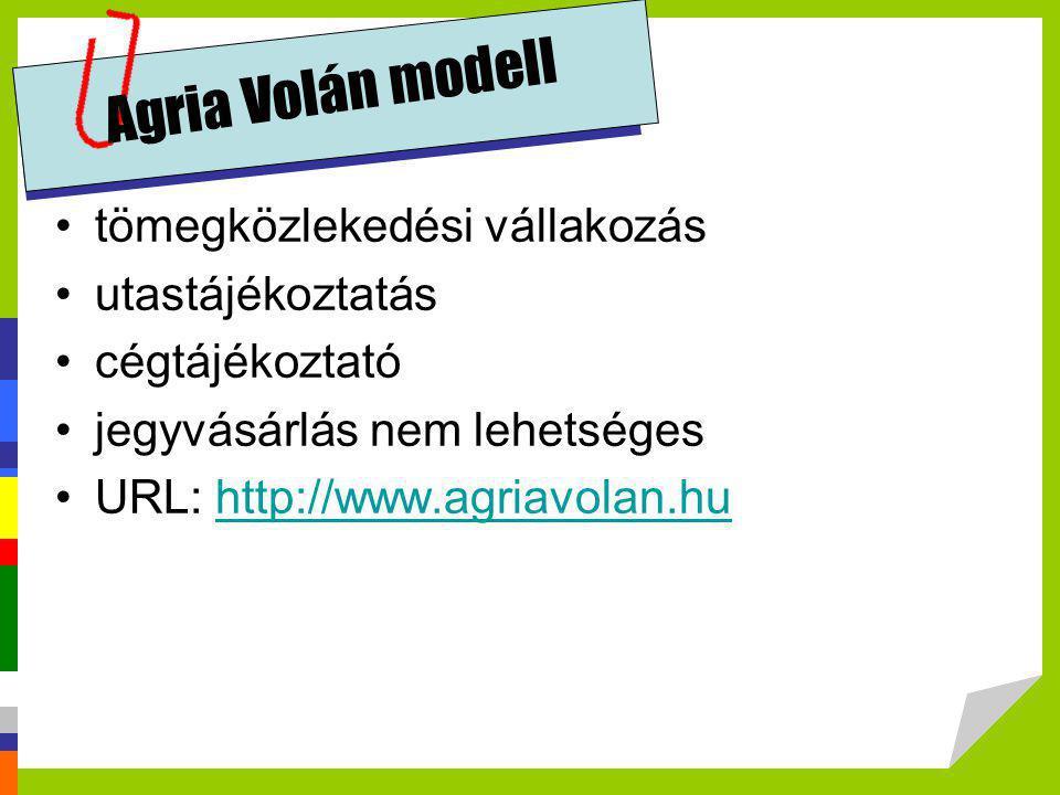 Agria Volán modell •tömegközlekedési vállakozás •utastájékoztatás •cégtájékoztató •jegyvásárlás nem lehetséges •URL: http://www.agriavolan.huhttp://ww