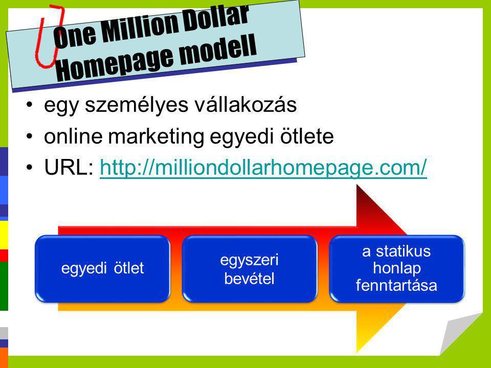One Million Dollar Homepage modell •egy személyes vállakozás •online marketing egyedi ötlete •URL: http://milliondollarhomepage.com/http://milliondoll