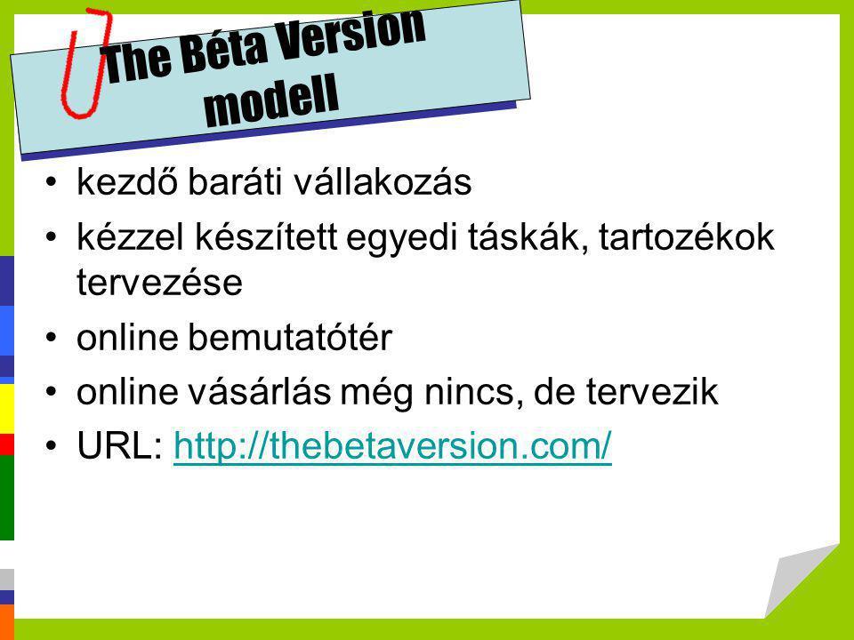 The Béta Version modell •kezdő baráti vállakozás •kézzel készített egyedi táskák, tartozékok tervezése •online bemutatótér •online vásárlás még nincs,