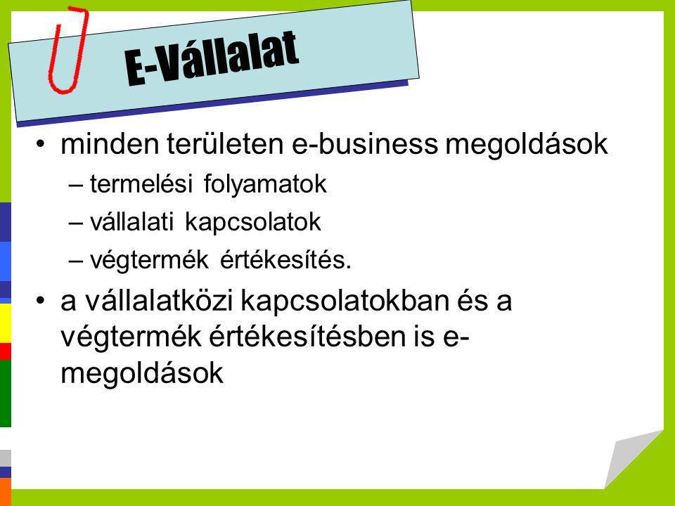 E-Vállalat •minden területen e-business megoldások –termelési folyamatok –vállalati kapcsolatok –végtermék értékesítés. •a vállalatközi kapcsolatokban