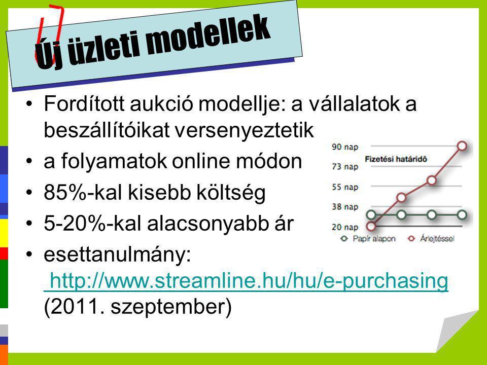 Új üzleti modellek •Fordított aukció modellje: a vállalatok a beszállítóikat versenyeztetik •a folyamatok online módon •85%-kal kisebb költség •5-20%-