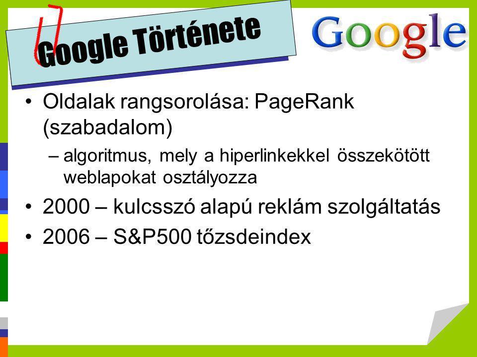 Google Története •Oldalak rangsorolása: PageRank (szabadalom) –algoritmus, mely a hiperlinkekkel összekötött weblapokat osztályozza •2000 – kulcsszó a