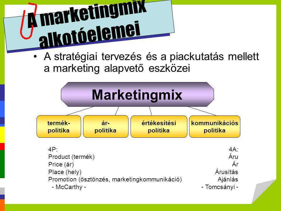 A marketingmix alkotóelemei •A stratégiai tervezés és a piackutatás mellett a marketing alapvető eszközei 4P: Product (termék) Price (ár) Place (hely)