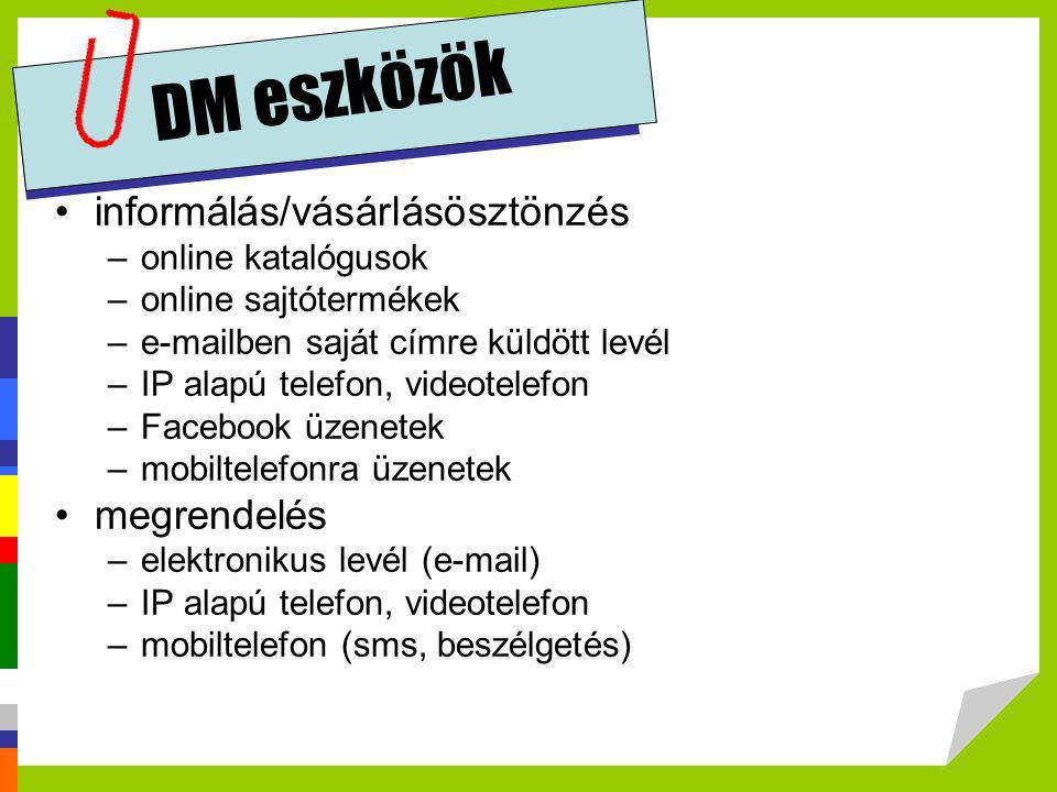 DM eszközök •informálás/vásárlásösztönzés –online katalógusok –online sajtótermékek –e-mailben saját címre küldött levél –IP alapú telefon, videotelef