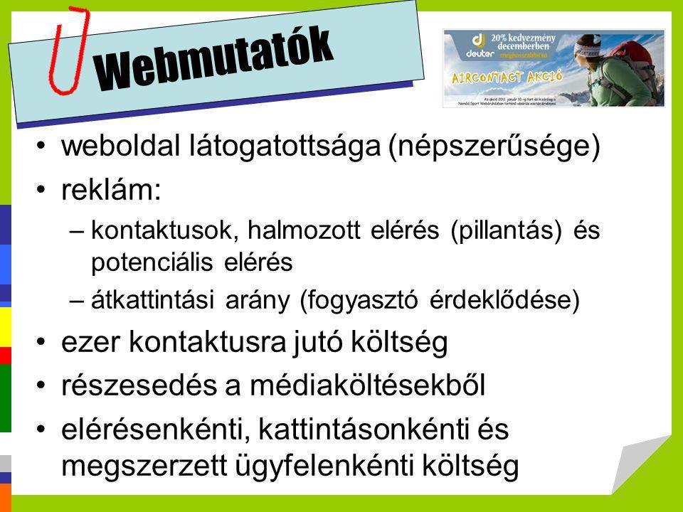 Webmutatók •weboldal látogatottsága (népszerűsége) •reklám: –kontaktusok, halmozott elérés (pillantás) és potenciális elérés –átkattintási arány (fogy