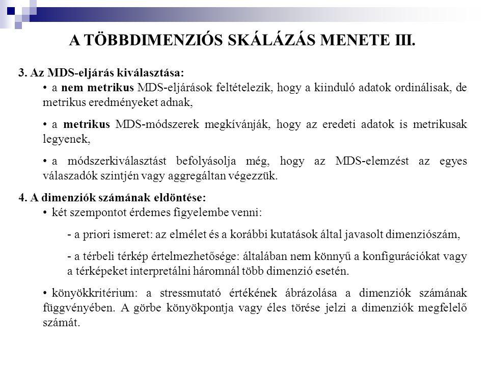 A TÖBBDIMENZIÓS SKÁLÁZÁS MENETE III. 3. Az MDS-eljárás kiválasztása: •a nem metrikus MDS-eljárások feltételezik, hogy a kiinduló adatok ordinálisak, d