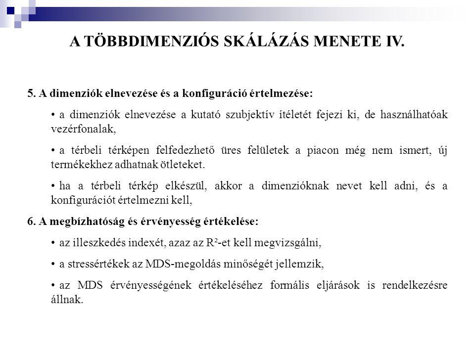 A TÖBBDIMENZIÓS SKÁLÁZÁS MENETE IV. 5. A dimenziók elnevezése és a konfiguráció értelmezése: •a dimenziók elnevezése a kutató szubjektív ítéletét feje