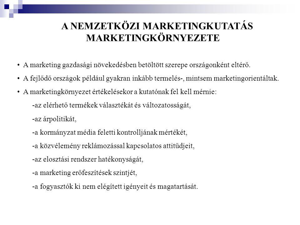 A NEMZETKÖZI MARKETINGKUTATÁS MARKETINGKÖRNYEZETE •A marketing gazdasági növekedésben betöltött szerepe országonként eltérő. •A fejlődő országok példá