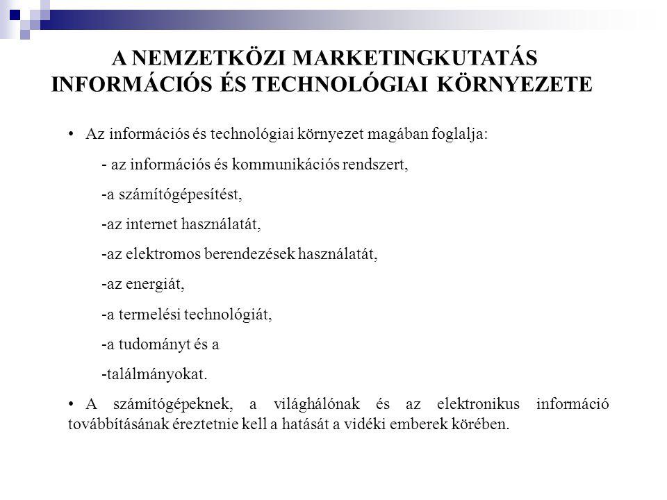 A NEMZETKÖZI MARKETINGKUTATÁS INFORMÁCIÓS ÉS TECHNOLÓGIAI KÖRNYEZETE • Az információs és technológiai környezet magában foglalja: - az információs és