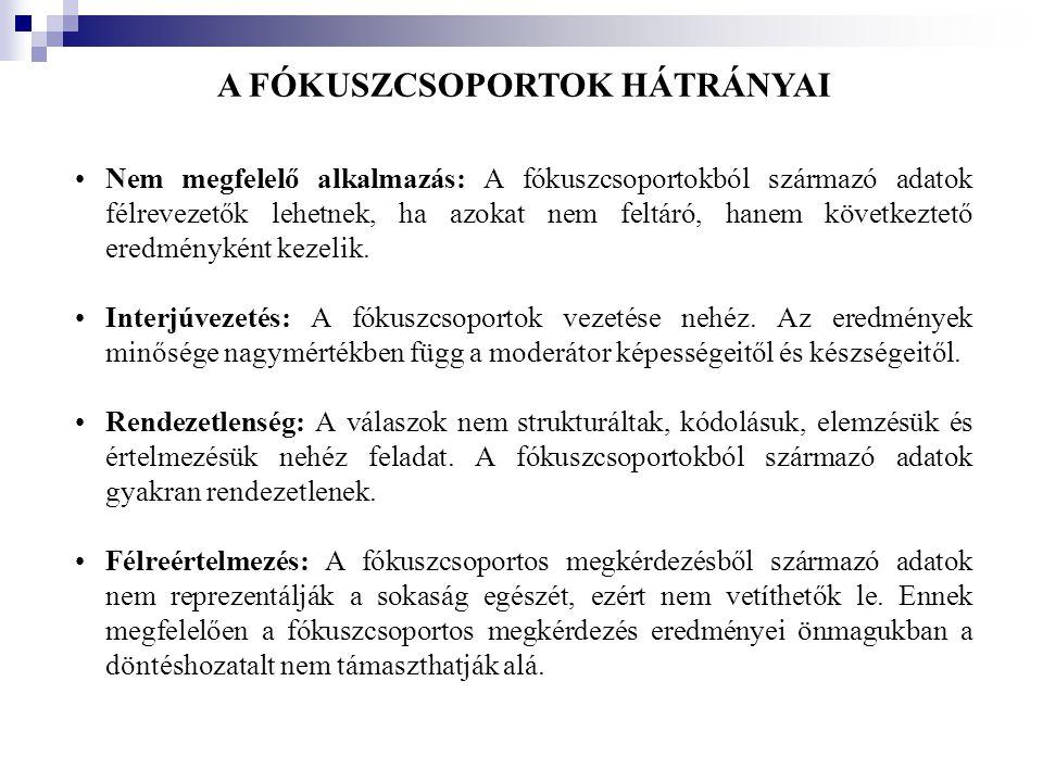 A FÓKUSZCSOPORTOK HÁTRÁNYAI •Nem megfelelő alkalmazás: A fókuszcsoportokból származó adatok félrevezetők lehetnek, ha azokat nem feltáró, hanem követk