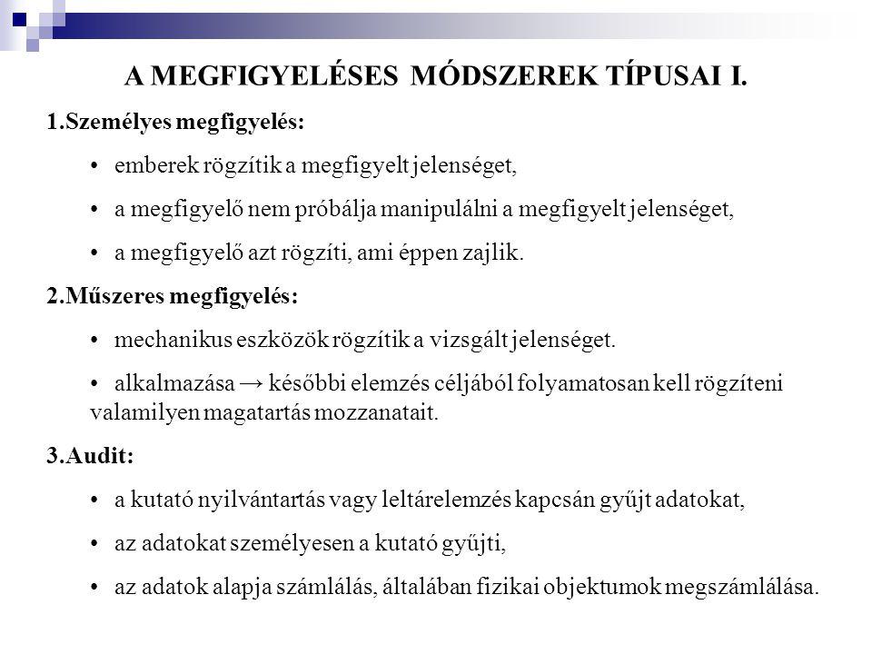 A MEGFIGYELÉSES MÓDSZEREK TÍPUSAI I. 1.Személyes megfigyelés: •emberek rögzítik a megfigyelt jelenséget, •a megfigyelő nem próbálja manipulálni a megf