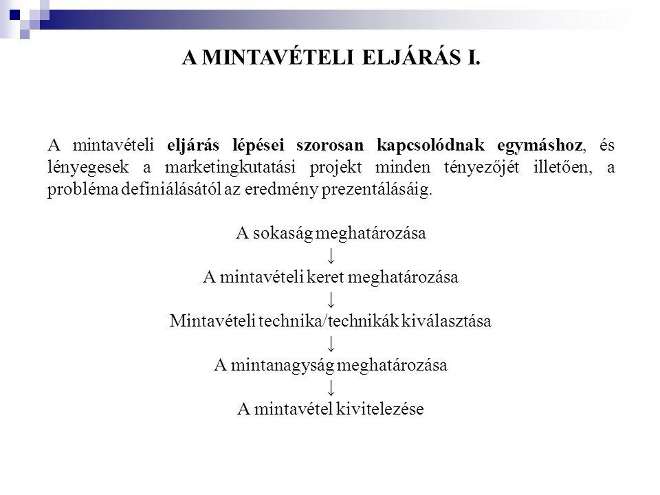 A MINTAVÉTELI ELJÁRÁS I. A mintavételi eljárás lépései szorosan kapcsolódnak egymáshoz, és lényegesek a marketingkutatási projekt minden tényezőjét il