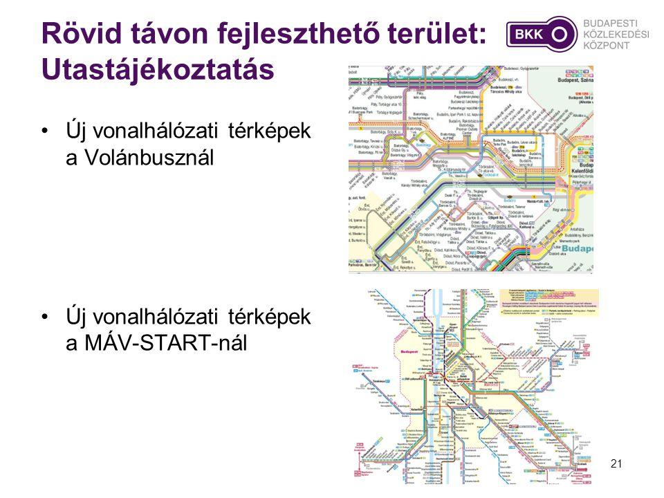 21 Rövid távon fejleszthető terület: Utastájékoztatás •Új vonalhálózati térképek a Volánbusznál •Új vonalhálózati térképek a MÁV-START-nál