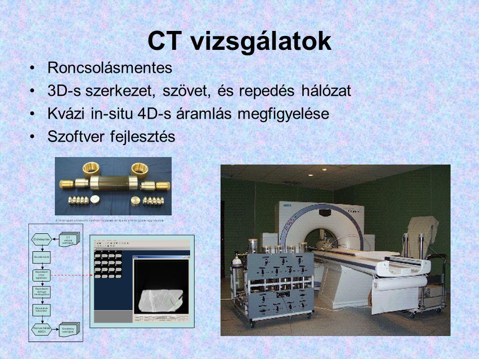 CT vizsgálatok •Roncsolásmentes •3D-s szerkezet, szövet, és repedés hálózat •Kvázi in-situ 4D-s áramlás megfigyelése •Szoftver fejlesztés