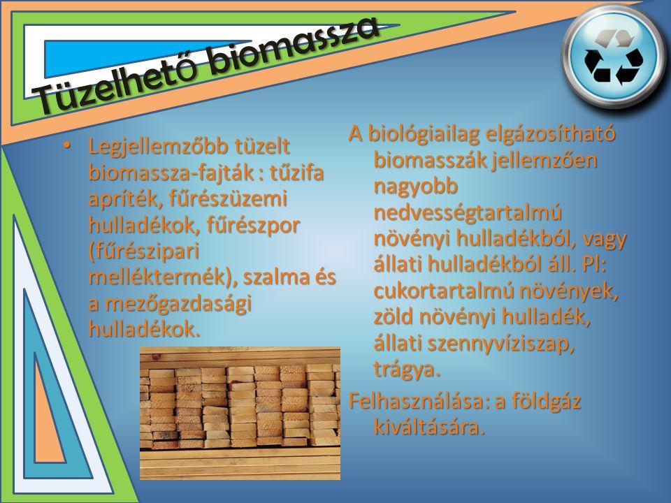 Tüzelhet ő biomassza • Legjellemzőbb tüzelt biomassza-fajták : tűzifa apríték, fűrészüzemi hulladékok, fűrészpor (fűrészipari melléktermék), szalma és