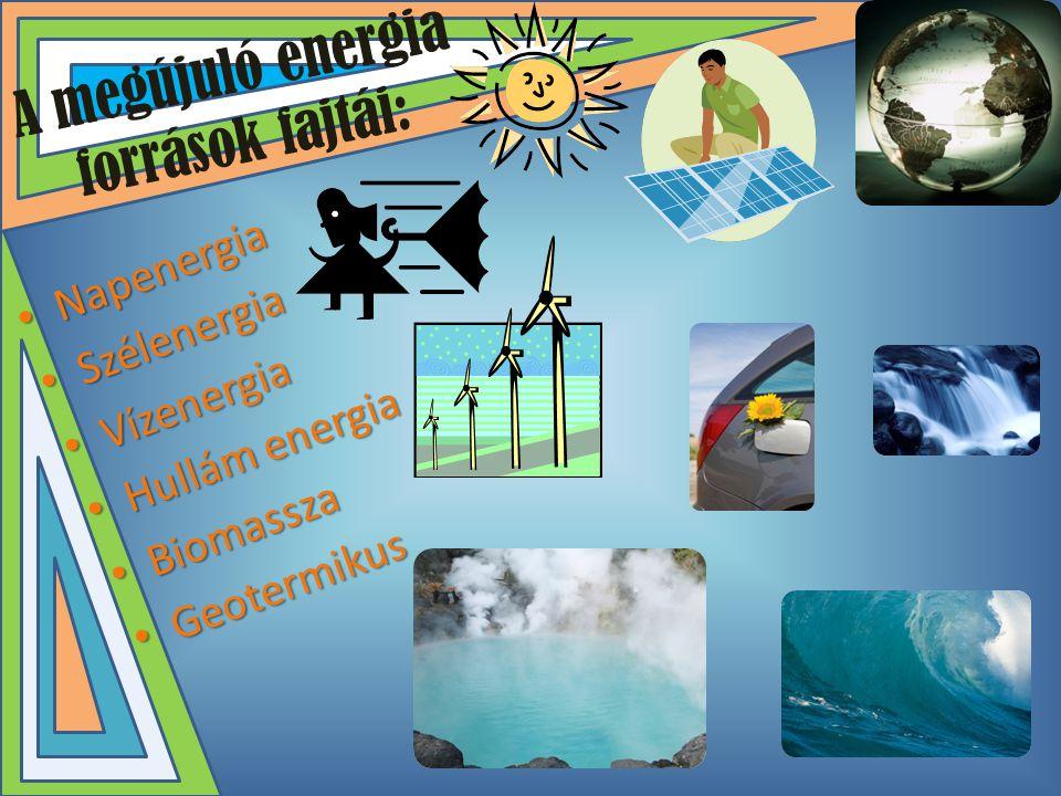 A megújuló energia források fajtái: • Napenergia • Szélenergia • Vízenergia • Hullám energia • Biomassza • Geotermikus