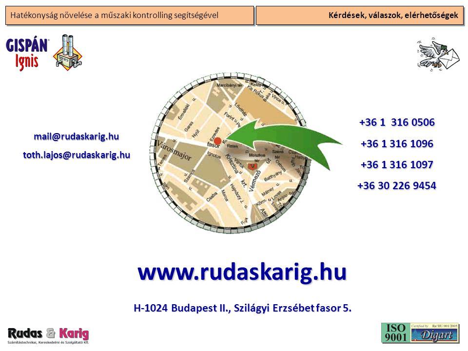Hatékonyság növelése a műszaki kontrolling segítségével Kérdések, válaszok, elérhetőségek +36 1 316 0506 +36 1 316 1096 +36 1 316 1097 +36 30 226 9454 mail@rudaskarig.hutoth.lajos@rudaskarig.hu www.rudaskarig.hu H-1024 Budapest II., Szilágyi Erzsébet fasor 5.