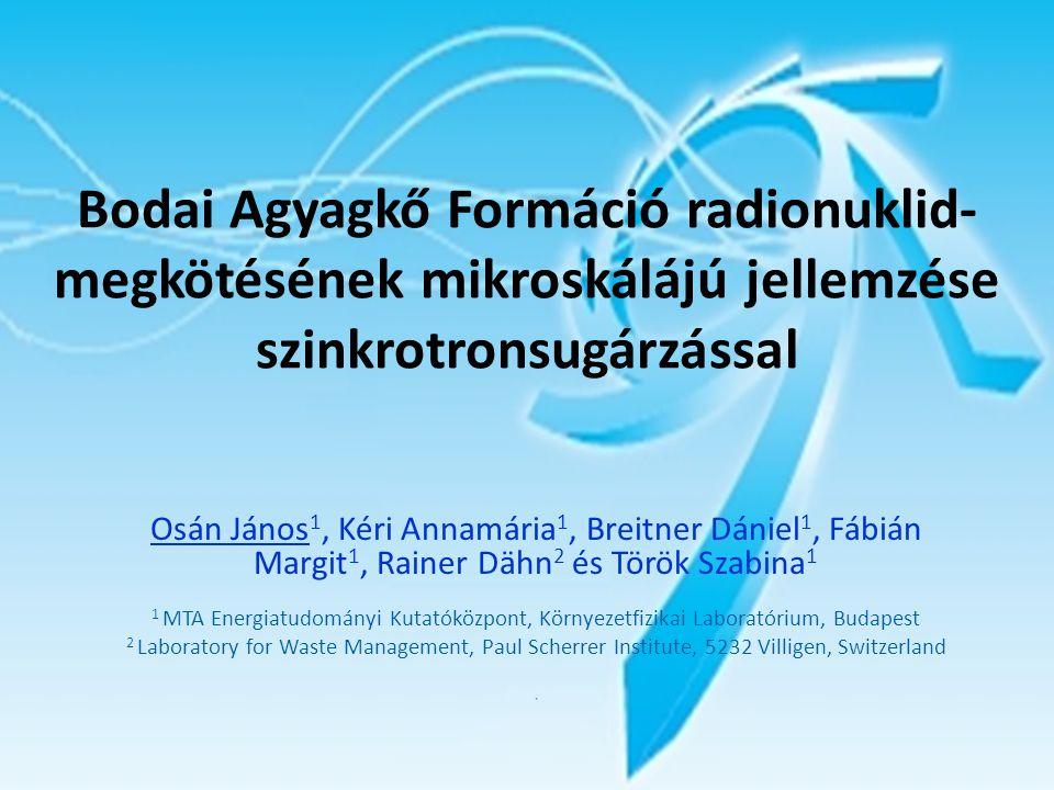 Bodai Agyagkő Formáció radionuklid- megkötésének mikroskálájú jellemzése szinkrotronsugárzással Osán János 1, Kéri Annamária 1, Breitner Dániel 1, Fáb