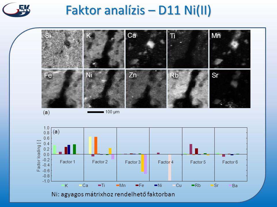 K Ca Zn Mn RbFe Si Sr Ti Ni 100 µm (a) Faktor analízis – D11 Ni(II) Ni: agyagos mátrixhoz rendelhető faktorban