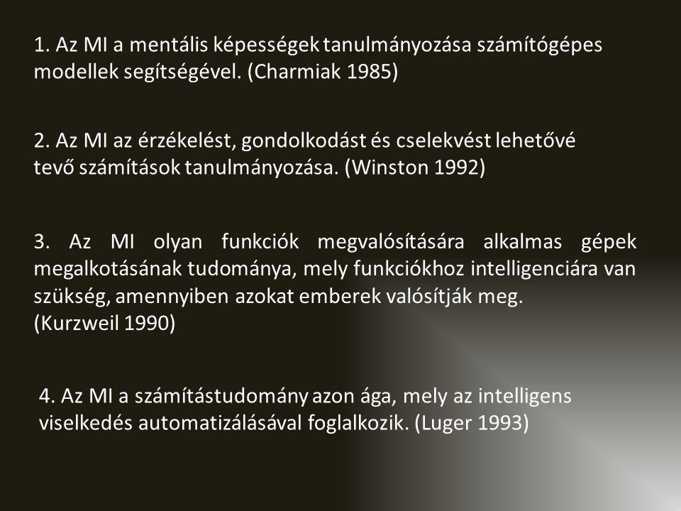 1.Az MI a mentális képességek tanulmányozása számítógépes modellek segítségével.