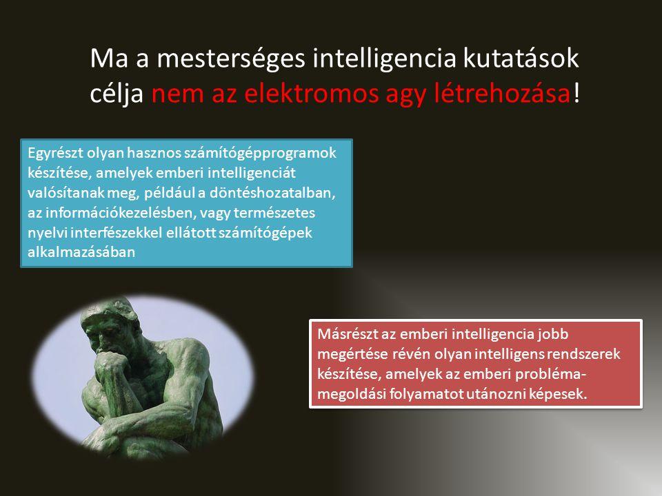 Egyrészt olyan hasznos számítógépprogramok készítése, amelyek emberi intelligenciát valósítanak meg, például a döntéshozatalban, az információkezelésben, vagy természetes nyelvi interfészekkel ellátott számítógépek alkalmazásában Másrészt az emberi intelligencia jobb megértése révén olyan intelligens rendszerek készítése, amelyek az emberi probléma- megoldási folyamatot utánozni képesek.