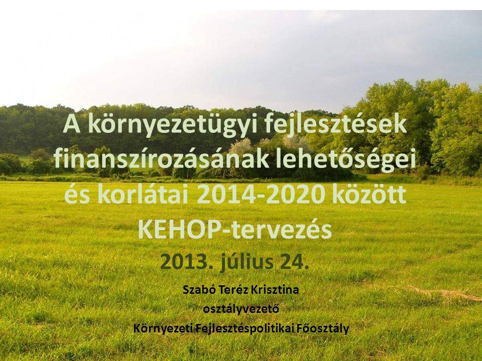 A környezetügyi fejlesztések finanszírozásának lehetőségei és korlátai 2014-2020 között KEHOP-tervezés 2013. július 24. Szabó Teréz Krisztina osztályv