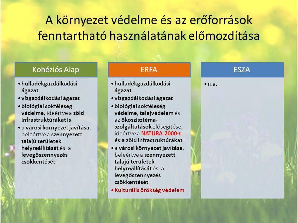 A környezet védelme és az erőforrások fenntartható használatának előmozdítása Kohéziós Alap •hulladékgazdálkodási ágazat •vízgazdálkodási ágazat •biol