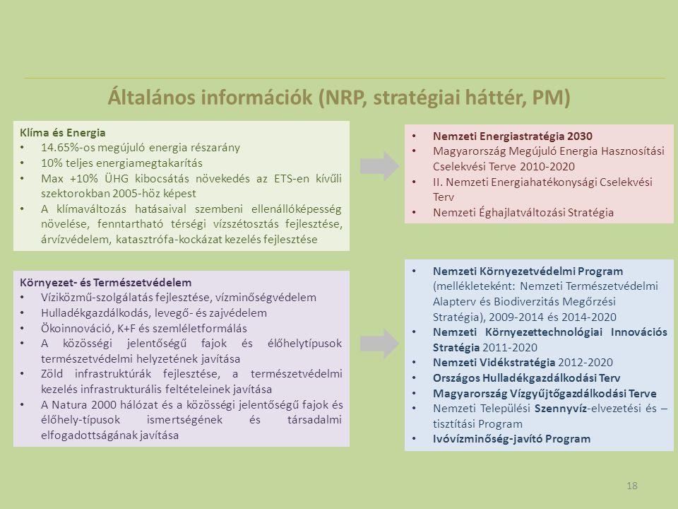 Általános információk (NRP, stratégiai háttér, PM) 18 Klíma és Energia • 14.65%-os megújuló energia részarány • 10% teljes energiamegtakarítás • Max +