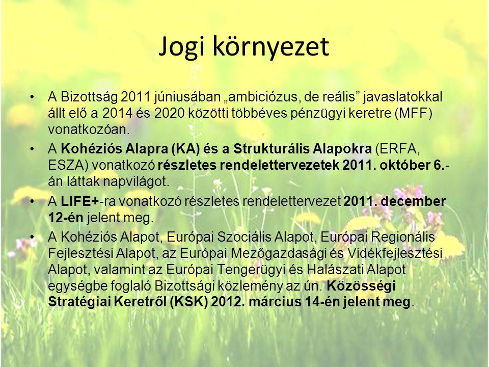 """Jogi környezet •A Bizottság 2011 júniusában """"ambiciózus, de reális"""" javaslatokkal állt elő a 2014 és 2020 közötti többéves pénzügyi keretre (MFF) vona"""