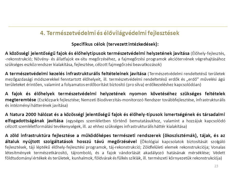 23 4. Természetvédelmi és élővilágvédelmi fejlesztések Specifikus célok (tervezett intézkedések): A közösségi jelentőségű fajok és élőhelytípusok term