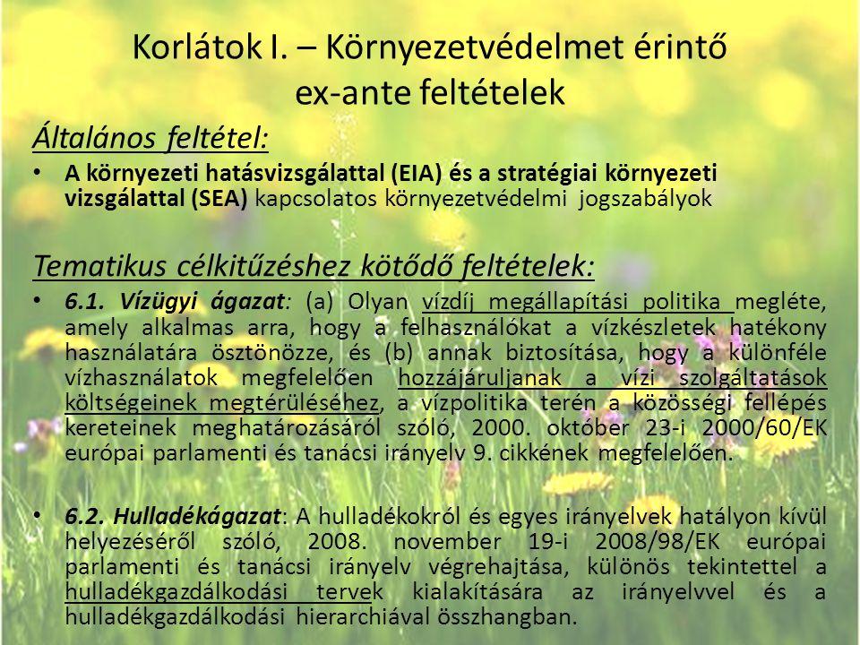 Korlátok I. – Környezetvédelmet érintő ex-ante feltételek Általános feltétel: • A környezeti hatásvizsgálattal (EIA) és a stratégiai környezeti vizsgá