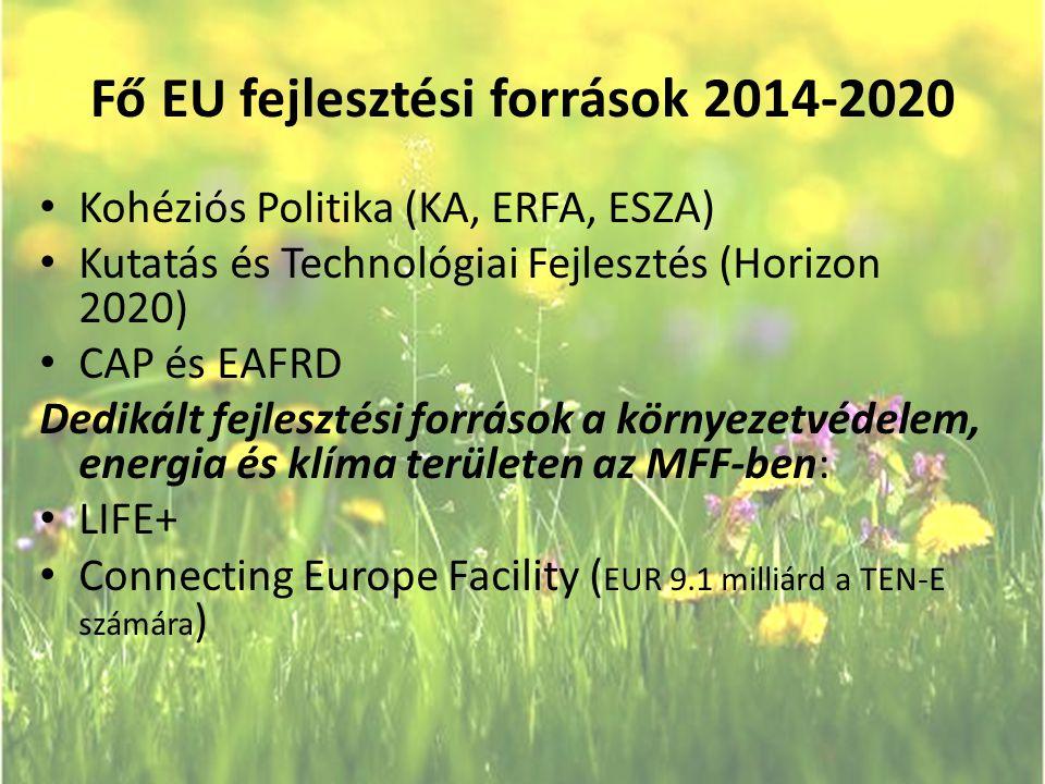 Fő EU fejlesztési források 2014-2020 • Kohéziós Politika (KA, ERFA, ESZA) • Kutatás és Technológiai Fejlesztés (Horizon 2020) • CAP és EAFRD Dedikált