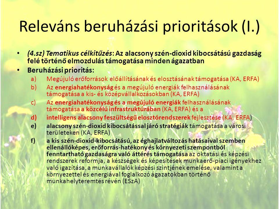 Releváns beruházási prioritások (I.) • (4.sz) Tematikus célkitűzés: Az alacsony szén-dioxid kibocsátású gazdaság felé történő elmozdulás támogatása mi