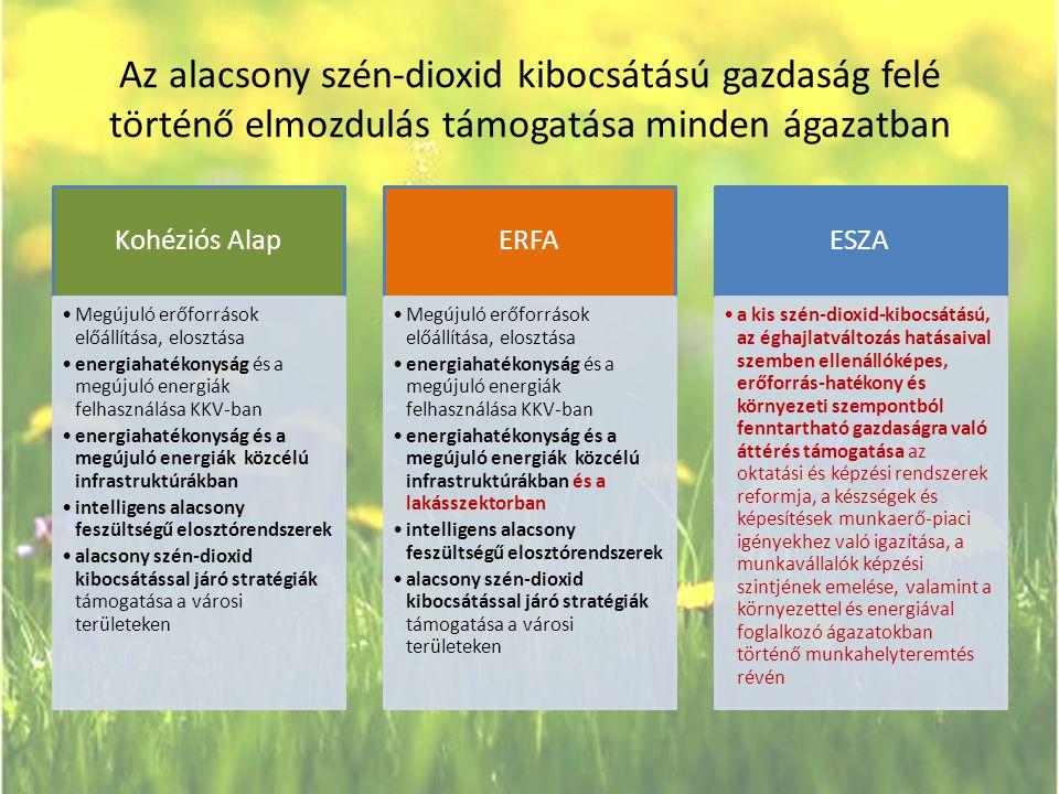 Az alacsony szén-dioxid kibocsátású gazdaság felé történő elmozdulás támogatása minden ágazatban Kohéziós Alap •Megújuló erőforrások előállítása, elos
