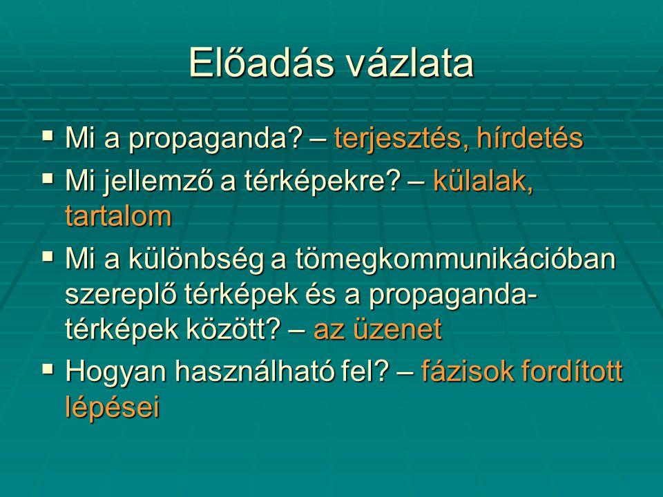 Előadás vázlata  Mi a propaganda. – terjesztés, hírdetés  Mi jellemző a térképekre.